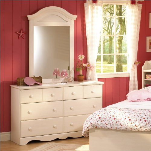 Double Dresser and Mirror Set in White Wash