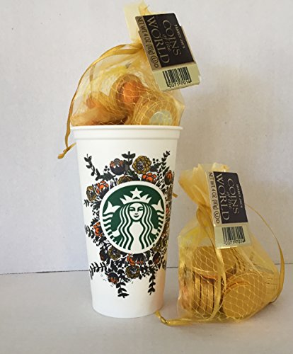 Starbucks Floral Collectable Travel To Go Grande Cup w/Lid (Discontinued) & Trader Joe's Chocolate Coins of The World (2) w/Gold Mesh Bags Bundle+ a Free Coffee Recipe From Z-Organics (3 items)