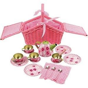 Bigjigs Toys BJ607 Pink Basket Tea Set