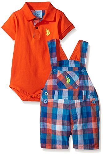 U.S. Polo Assn. Baby 2 Piece Plaid Shortall and Matching Creeper, Multi Plaid, 6/9 Months Size: 6-9 Months SpecialSizeType: Baby Color: Multi Plaid, Model: P0UR000M1V-6/9M, Newborn & Baby Supply