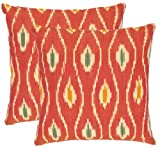 Safavieh Pillow Collection Diamond Iris 22-Inch Decorative Pillows, Red and Ivory, Set of 2