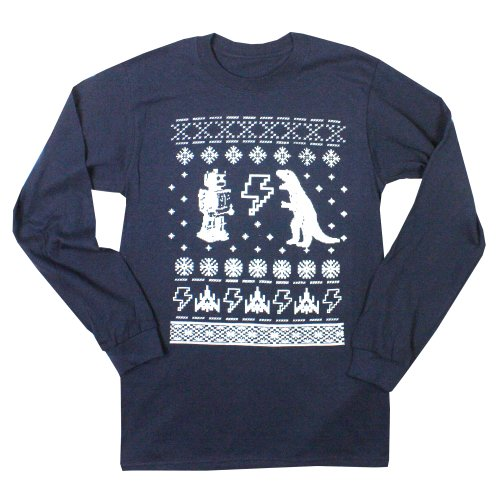 Happy Family Geeky Ugly Christmas Sweater Long Sleeve Men's T-Shirt (Medium, Navy)