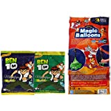 Tom And Jerry Holi Magic Balloon Bunch 111 Pc Auto Fill (3 Sets Of 37 Balloons) With 2 Ben 10 Gulal