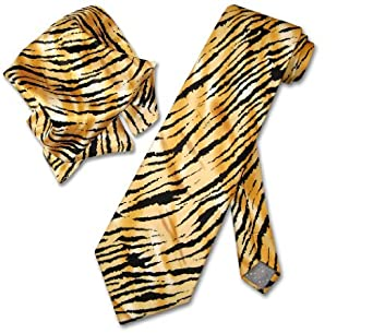 TIGER Animal Skin Print SILK Neck Tie & HANDKERCHIEF Set Men's NeckTie