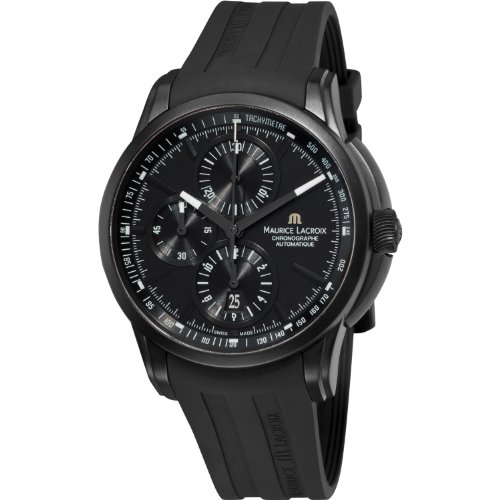 Maurice Lacroix Pontos Chronograph Mens Black Rubber Strap Watch PT6188-SS001-331