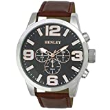 Henley Large Case Fashion Watch with Decorative Multi-Eye Dial Men's Quartz Watch with Black Dial Analogue Display and Brown PU Strap H0208414