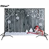 FiVan  Wood and Snowman Design Photo Backdrop With Eyelets For Xmas Eve Home Party Pictures Baby Children Studio Portraits Background FT-5899 (Color: FT-5899)
