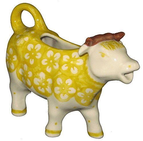 polish-pottery-cow-creamer-in-pattern-j8zo-yellow-blossom-by-poughkeepsie-polish-pottery-more