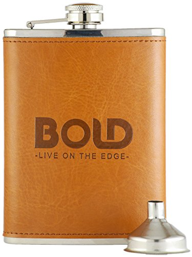 Bold Brands 8 Oz. 304 Stainless Steel Hip Flask with Brown Leather Wrapping and Funnel