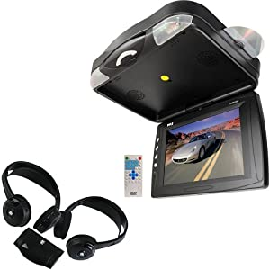 Vehicle Monitor Receiver and Wireless Dual Headphones Package - PLRD133F 12.1'' Roof Mount TFT LCD Monitor w/ Built-In DVD Player - PLVWH6 Dual Wireless IR Mobile Video Stereo Headphones w/Transmitter (Pair) for Car, Van, Truck, Bus, Mobile etc.
