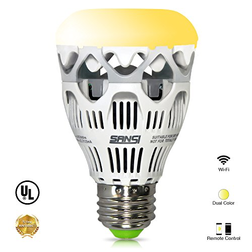LOFTEK-SANSI 10W Dual Color Temperature Bulb - iOS & Android Controlled Warm and Daylight Changing, Dimmable and with UL Approved, No Flicker. (Temperature Bulb compare prices)