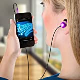 GOgroove audiOHM Earbuds / In-Ear Headphones with Interchangeable Noise Isolating Ergonomic Ear Gels (4 sizes) & Deep Bass for Smartphone MP3 Player Tablet Laptop Computer DVD Player & Other Portable Electronics - Metallic Purple