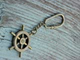 BEAUTIFUL SOLID Brass Ships Wheel Key Chain & ANTIQUE Finish BEAUTIFUL vintage style