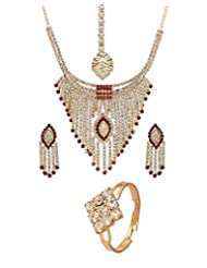Voylla Gold Tone Necklace Set Embedded With Shiny Red And White CZ
