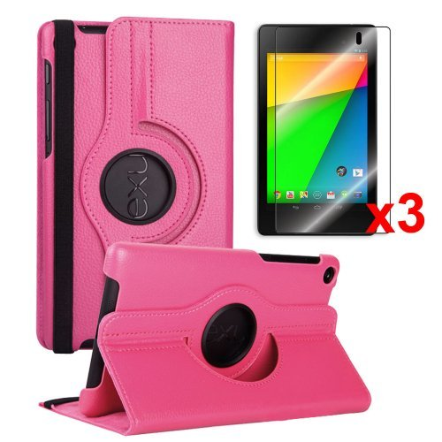 >>  FHD 360 Rotating PU Leather Case Pouch Cover Skin [Hot Pink] for Google Nexus 7 2nd Gen+3pcs Crystal Screen Protector - 2013 NEW