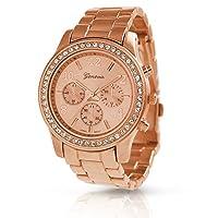 BLING JEWELRY bnon-9073-Rose Gold - Reloj de niño de cuarzo oro rosa de Geneva Platinum