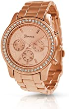 Geneva Platinum Women's 9073.RoseGold.Gold Two-Tone Metal Quartz Watch with Silver Dial