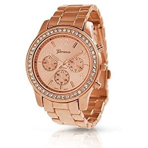 Geneva Rose Gold Plated Classic Round CZ Ladies Boyfriend Watch