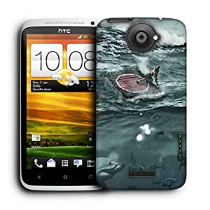 Snoogg Sharks Printed Protective Phone Back Case Cover For HTC One X