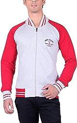 RGT Men's Fleece Regular Fit Sweatshirts (RGT6012GREYRED-L)