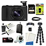 Sony DSC-HX50V/B DSC-HX50, HX50, DSCHX50 Cyber-shot 20.4MP High Zoom Digital Camera Bundle with 64GB SD Memory Card + Memory Card Reader-Writer + Wasabi Power Replacement Battery for Sony NP-BX1 and Sony Cyber-shot DSC-RX1 + Soft Carrying Case + 7