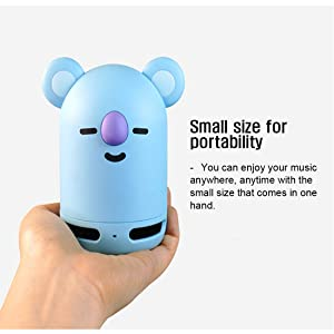 BT21 Official BTS Friends Duo Bluetooth Stereo Portable Speaker & Figure Set for Home, Outdoors, Travel (Speaker KOYA + Figure RJ) (Color: Speaker KOYA + Figure RJ)