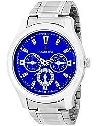 Golden Bell Original Chronograph Look Blue Dial Black Steel Wrist Watch For Men