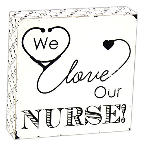 Adams and Co. We Love Our Nurse Black and White 6 x 6 inch Wood Block Table Top Sign Decoration (Tabletop Love Sign compare prices)
