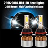 1 Pair HB1 9004 Car LED Headlight Bulbs COB Chip High/Low Beam DRL Fog Light Conversion Kit - 7200LM 6000K Pure White - Replace for Halogen HID