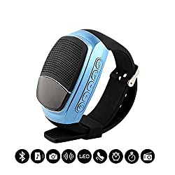 BlueInk Multifunctional B90 Bluetooth Speaker Watch, Convenient Bluetooth Sports Music Bicycle Speaker Wireless Bluetooth Speakers Support Hands-free Call, TF/SD Card, FM, Audio. Radio, Time Display (Blue)