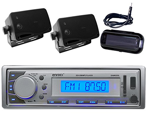 Enrock 20S-B1-3 Marine Audio Outdoor Boat/Car ATV AM/FM Receiver MP3 USB Aux Stereo-Pair Speakers (Black/Silver)