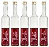 5 leere gravierte Glasflaschen 350ml Rentier Weihnachten