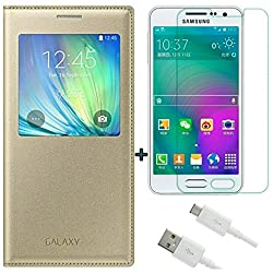 ACCESSORY COMBO (SAMSUNG GALAXY ON5) GOLDEN WINDOW FLIP COVER ,ULTRA CLEAR TEMPERED GLASS AND WHITE DATA CABLE