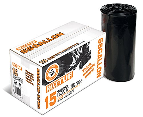 Bilt-Tuf Drum Liner 55 Gallon Twist Tie Superior Strength 3.0 Mil 15 Count Outdoor Trash  Bags
