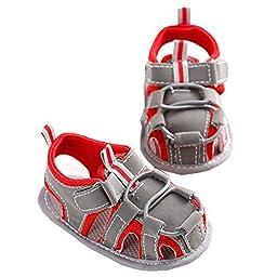 LINKEY Infant Baby Non-slip Velcro Walking Sandals Prewalker Soft Sole Toddler Shoes Red Size L
