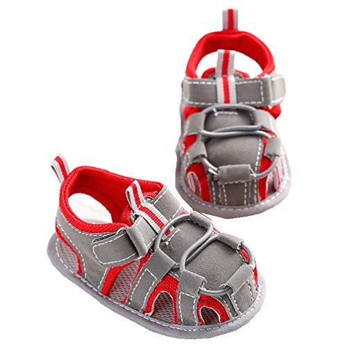 LINKEY Infant Baby Non-slip Velcro Walking Sandals Prewalker Soft Sole Toddler Shoes Red Size S