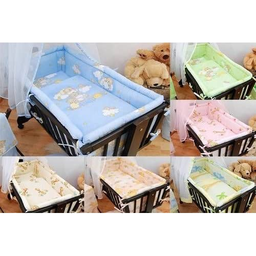6 Piece Baby Crib Bedding Set (90 x 40) + Terry Fitted Sheet Fits Rocking   Swinging Cradle - (4)