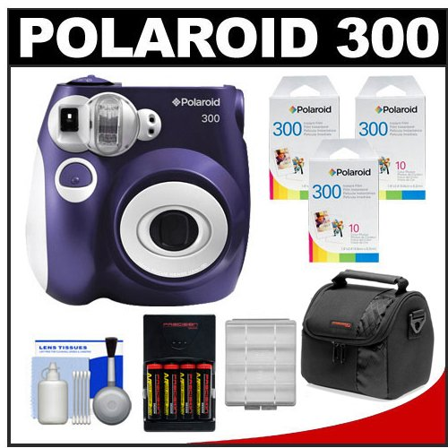 Polaroid PIC-300P Instant Film Analog Camera (Purple) with (3) Polaroid Instant Film Pack of 10 + (4) AA Batteries & Charger + Case + Kit
