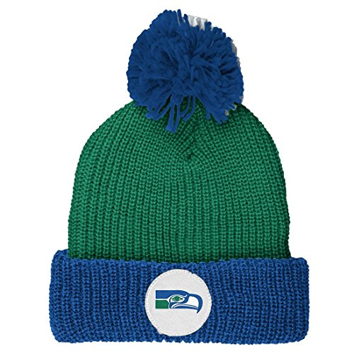 Mitchell-Ness-NFL-Vintage-Retro-Cuffed-Knit-Hat-w-Pom-Seattle-Seahawks