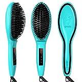 Gisala Metal Ceramic Heater Hair Straightening Brush,Auto Lock,Anti Scald,Zero Damage,Adjustable Temperature,Instant Heat Up Professional Hair Straightener(Cyan)