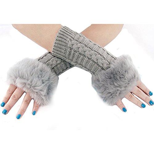 LOCOMO Hand Warmer Knit Fingerless Faux Fur Palm Gloves Long Sleeves FAF080BLK перчатки patagonia shelled insulator fingerless gloves