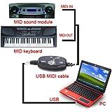 TIMETOP USB MIDI Câble Convertisseur PC pour Adaptateur Clavier musical