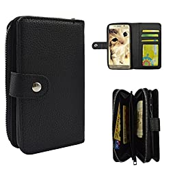 Galaxy S6 Edge Plus Case, Seedan PU Leather Wallet Zipper Case Detachable Folio Flip Holster Carrying Case with Card Slot Wrist Strap for Samsung Galaxy S6 Edge Plus Black