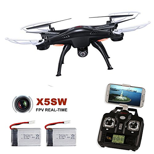 SYMA X5SW-G RC Drone with Camera and Transmitter Headless Wifi FPV Quadcopter Radio Controlled + 2 Batteries Black