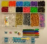 Rainbow Colors Loom Kit Rubber Band Refills Set Deluxe Organizer Storage Case Plus Glow in the Dark Rubber Bands Neon