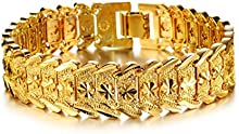 Comprar AnaZoz Joyería de Moda Pulsera Brazalete Para Hombres 18K Chapado en Oro Compromiso de Boda Personalidad Simple