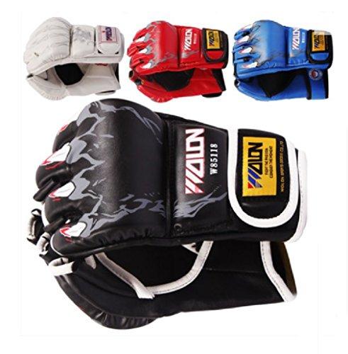 【PacoShop919】 格闘技 トレーニング パンチング グローブ  オープンフィンガーグローブ V拳ガード (�K ブラック) P394 -