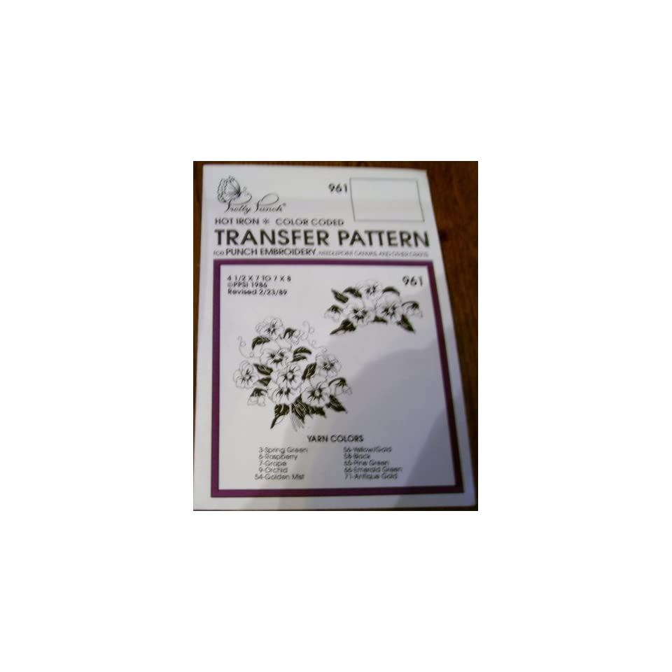 Hot Iron Transfer Pattern #961 Poppy Boquets (For Punch Embroidery, Needlepoint Canvas, Textile Painting & Other Crafts)