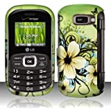 Green White Hawaiian Flower Black Butterfly Design Rubberized Design Snap on Hard Shell Cover Protector Faceplate Skin Case for Verizon LG Octane VN530 + LCD Screen Guard Film (Free Wristband)