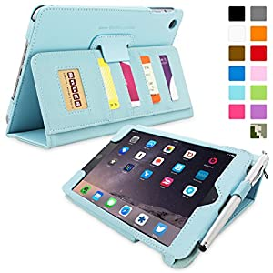 Snugg® iPad Mini & iPad Mini 2 Case - Executive Smart Cover With Card Slots & Lifetime Guarantee (Baby Blue Leather) for Apple iPad Mini & iPad Mini 2